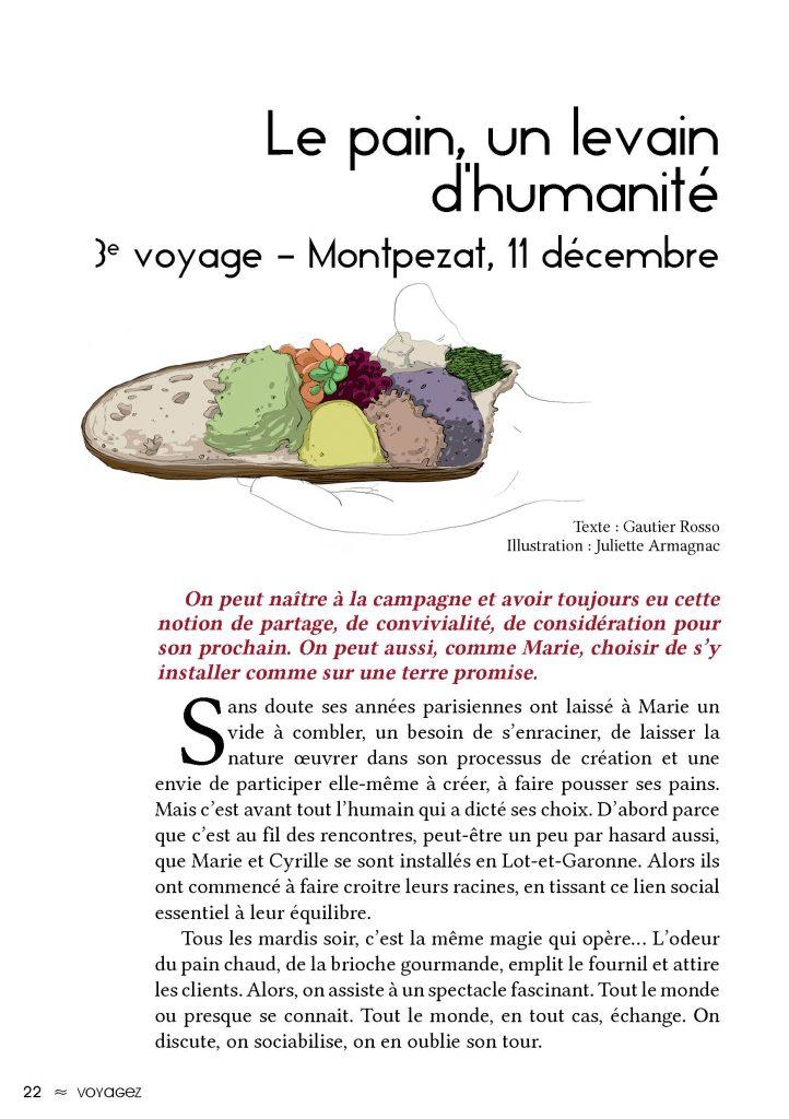 première page de l'article nommé Le pain, un levain d'humanité dans la revue Le Citron numéro 5