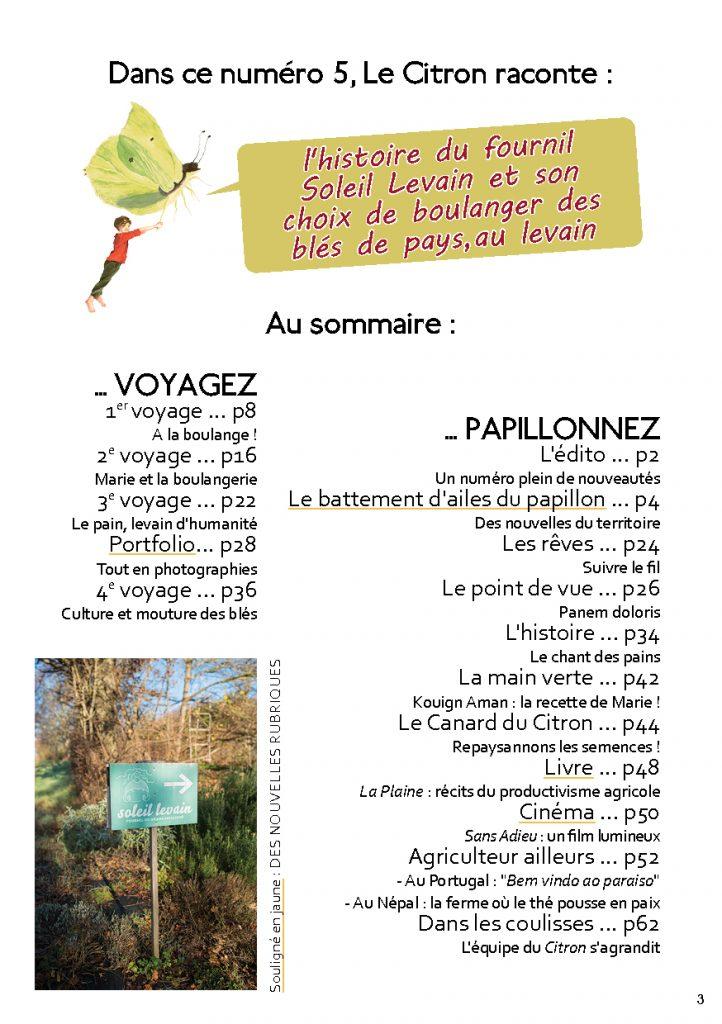 sommaire de la revue Le Citron numéro 5 sur la boulangerie