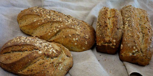 quatre pains moulés et façonnés aux graines sont posés sur une toile de couche dans la boulangerie artisanale soleil levain